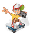 cool boy skater with ghetto blaster cartoon vector image