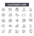 customer care line icons signs set vector image vector image
