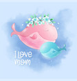 cute cartoon whale mom and son in sky vector image