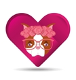 cute dog pet with flower and glasses heart vector image vector image