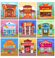 different cafe and restaurant facade buildings vector image vector image