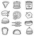 Doodle of hand draw food set vector image vector image