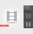 film strip line icon with editable stroke vector image vector image