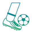 foot kicking ball football soccer icon image vector image vector image