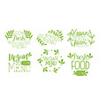 fresh vegan menu labels set fresh farm products vector image vector image