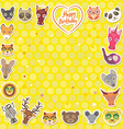 Funny Animals Happy birthday Yellow Polka dot vector image vector image
