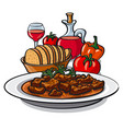 goulash with vegetables vector image vector image