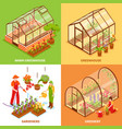greenhouse design concept set vector image