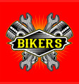 grunge style bikers logo piston and wrench hand vector image vector image