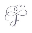 hand drawn calligraphic floral f monogram vector image vector image