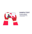 hands holding smartphone santa claus with african vector image