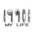 headphones smartphone my life vector image vector image