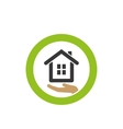 house icon on palm vector image vector image