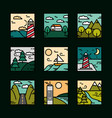 landscapes icons set nature mountains summer vector image
