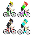 man cyclists group pattern vector image