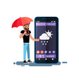 man with umbrella standing in large smartphone vector image