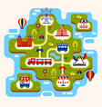 map amusement park with attractions vector image