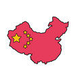 map china with flag isolated icon vector image vector image