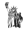 monochrome american statue of liberty concept vector image