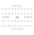 Music outline and stroke icons set simple thin vector image