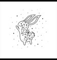 mystical rabbit with moon and stars mystic vector image vector image