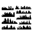 Set of Cities Silhouette black City vector image vector image