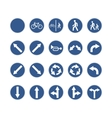 set round blue road signs on white vector image