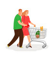 shopping people couple with shopping cart vector image
