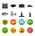 sights of different countries blackflet icons in vector image vector image