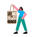 with girl holding textile tote bag and lettering vector image