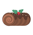 yule log christmas dessert cake flat icon vector image vector image