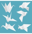 Set of paper cranes origami birds isolated vector image