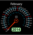 2014 year calendar speedometer car in February vector image vector image