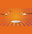 3d podium in abstract orange and halloween theme vector image vector image
