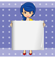 A lady with a blue hair holding an empty signage vector image vector image