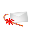 A Lovely Candy Cane with Red Bow and Letter vector image vector image