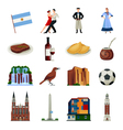 Argentina Symbols Flat Icons Collection vector image vector image