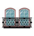 balcony vintage balconied railing windows vector image