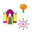 balloon bouncy castle and ferris wheel icon set vector image vector image