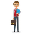 banker with glasses and briefcase vector image