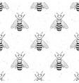 bee hand drawn seamless pattern monochrome