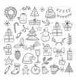 christmas doodle set sketch christmas wreath fir vector image vector image