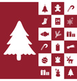 christmas red and white icons collection eps10 vector image vector image