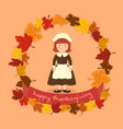 circle autumn leaf thanksgiving girl greeting card vector image vector image