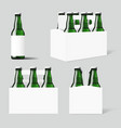 clear six green beer bottles white pack vector image