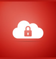 cloud computing lock icon on red background vector image