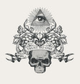 coat of arms with all-seeing eye and skull vector image vector image