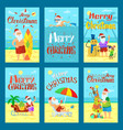 collection of merry christmas holiday cards vector image vector image