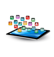 Colorful application icons in a tablet vector image vector image