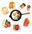 different sweet and savory dishes for breakfast vector image